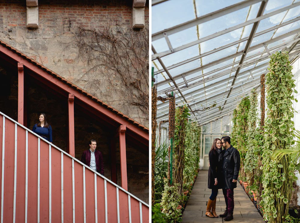 creative portraits of couple in greenhouse and on modern stairs