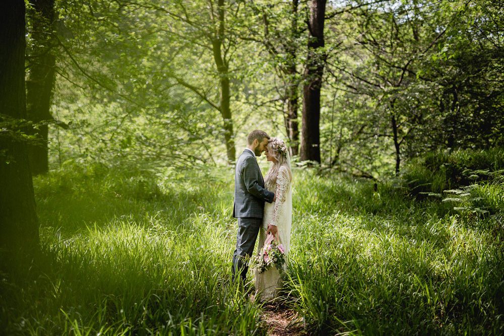 Portrait of outdoor wedding at Gibson mill