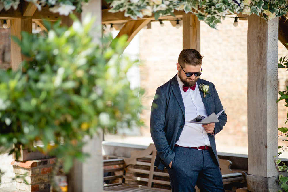 groom before his outdoor wedding at Hornington Manor