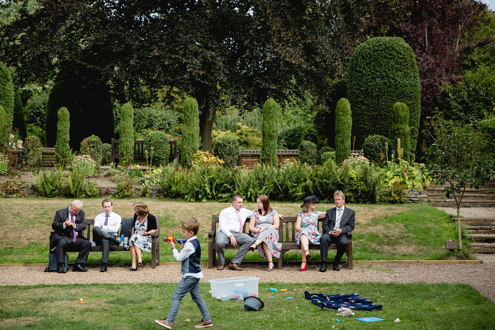 Documentary photo of guests in Oakwell Hall Gardens