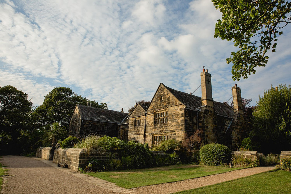 Outside of Oakwell Hall in Birstall at sunset