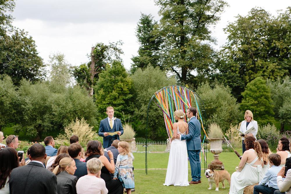 Talton Lodge outdoor wedding ceremony