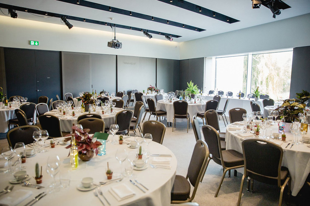 tables set out at the hepworth wakefield wedding venue