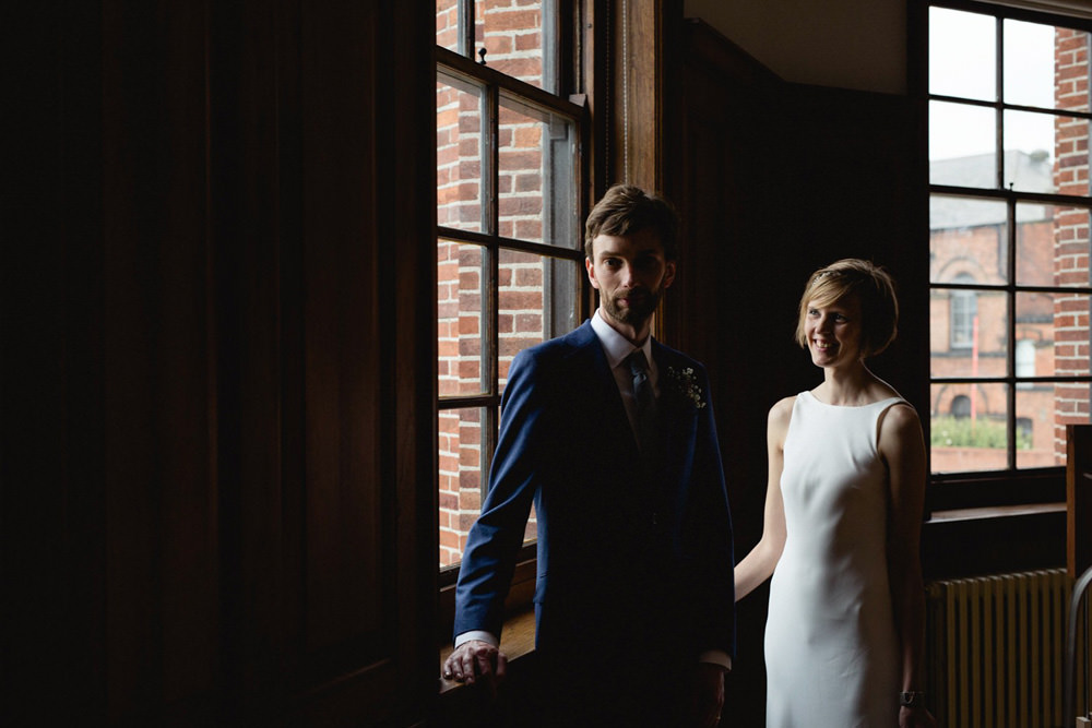 Cool and modern portrait of a couple at the tetley gallery wedding venue leeds