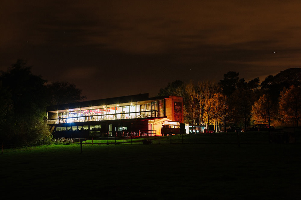 outside if yorkshire sculpture park wedding venue at night
