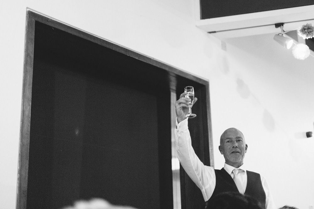 black and white father of bride speech at yorkshire sculpture park wedding venue