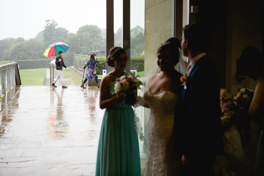 the indoor space on a rainy day yorkshire sculpture park wedding