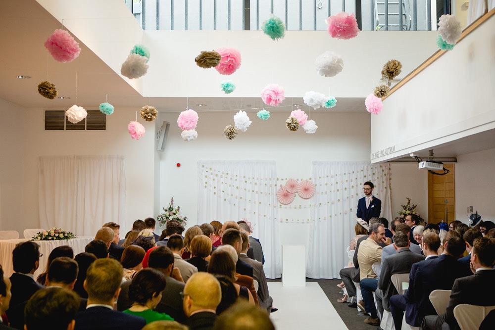 ceremony room at yorkshire sculpture park wedding