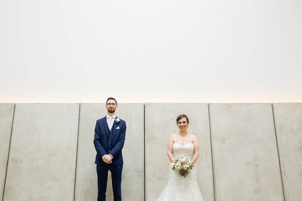quirky wedding portraits at the YSP deer shelter near leeds