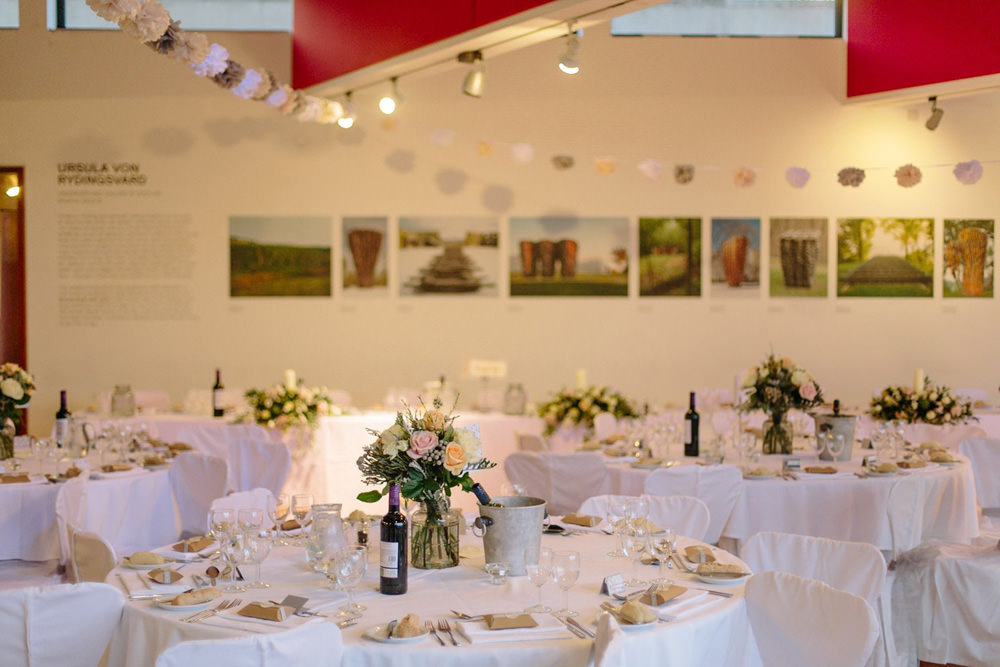 tables setup for wedding breakfast in the cafe at Yorkshire Sculpture Park